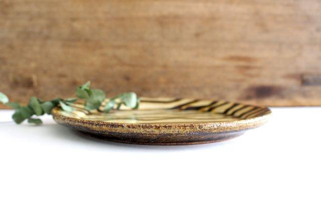 リム丸皿 中 波線棒線 クリーム 陶器 紀窯 画像2