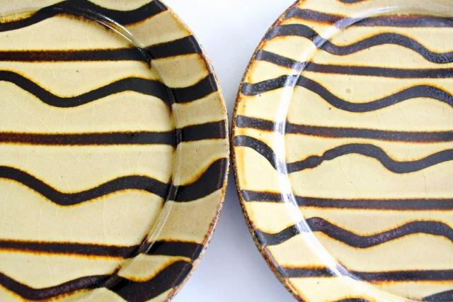 リム丸皿 中 波線棒線 クリーム 陶器 紀窯 画像3