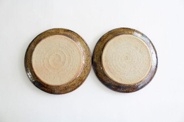 リム丸皿 中 波線棒線 クリーム 陶器 紀窯 画像6