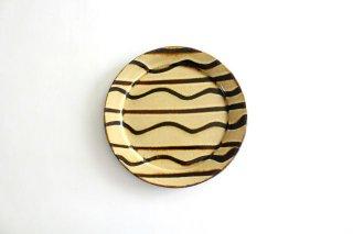 リム丸皿 中 波線棒線 クリーム 陶器 紀窯商品画像