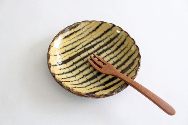 丸皿 中 フェザーコーム クリーム 【A】 陶器 紀窯