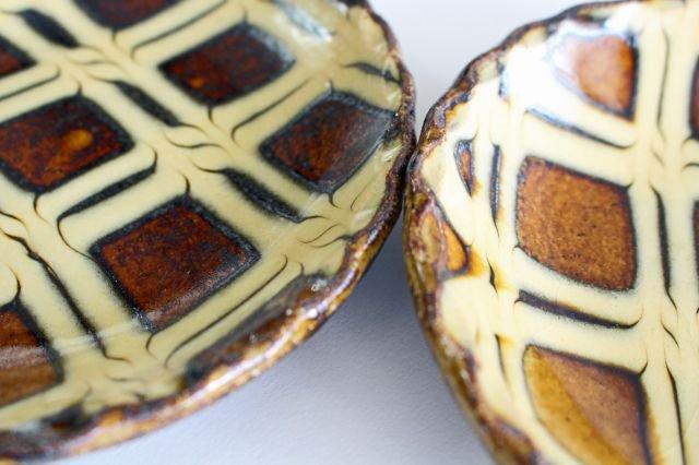 丸皿 中 二重格子 飴 陶器 紀窯 画像3