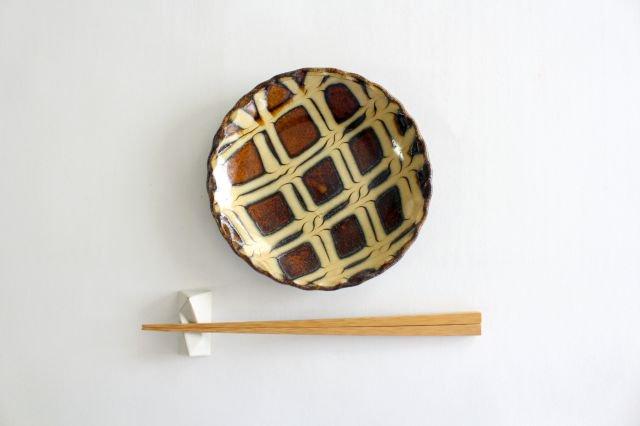 丸皿 中 二重格子 飴 陶器 紀窯 画像4
