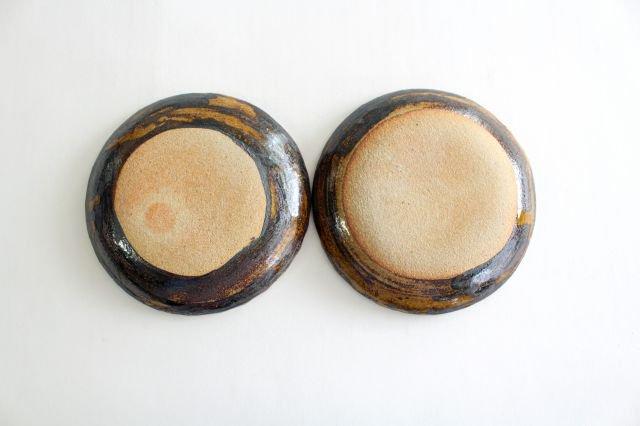丸皿 中 二重格子 飴 陶器 紀窯 画像5