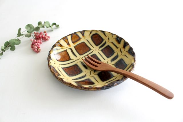 丸皿 中 二重格子 飴 陶器 紀窯 画像6