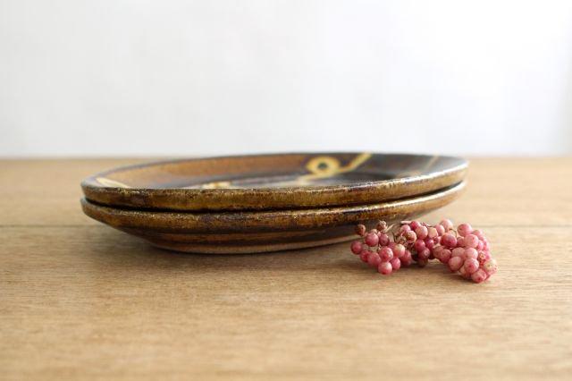 楕円リム皿 中 輪二本 飴 陶器 紀窯 画像4