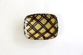 長角皿 二重格子 クリーム 陶器 紀窯商品画像
