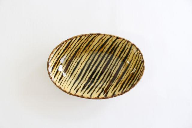 楕円鉢 フェザーコーム クリーム 陶器 紀窯