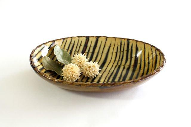 楕円鉢 フェザーコーム クリーム 陶器 紀窯 画像2