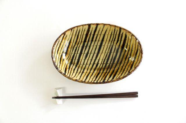楕円鉢 フェザーコーム クリーム 陶器 紀窯 画像4