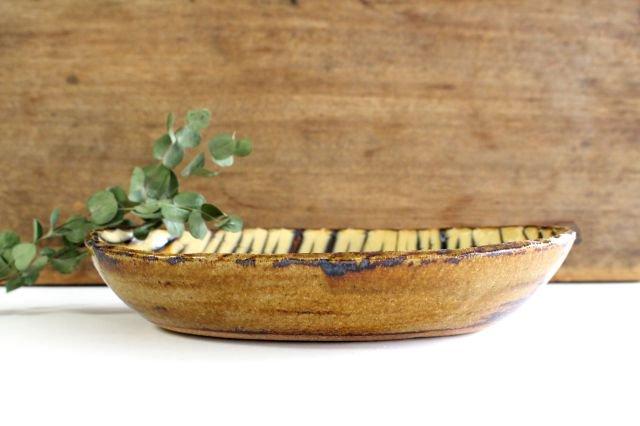 楕円鉢 フェザーコーム クリーム 陶器 紀窯 画像6