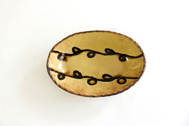 楕円鉢 輪二本 クリーム 陶器 紀窯