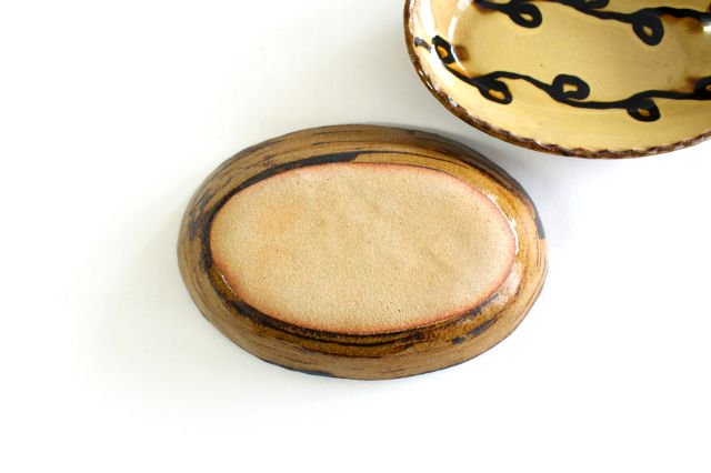 楕円鉢 輪二本 クリーム 陶器 紀窯 画像3