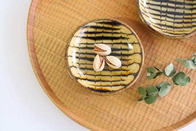 丸皿 豆 フェザーコーム クリーム 【A】 陶器 紀窯