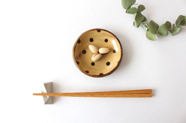 丸皿 豆 ドット クリーム 陶器 紀窯