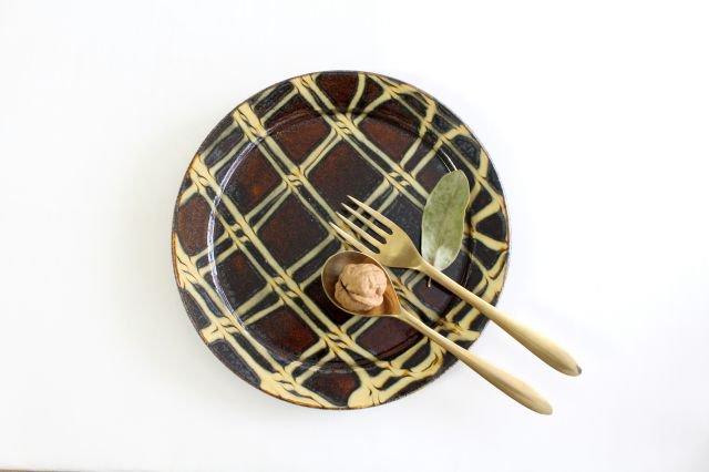 リム丸皿 大 二重格子 飴 陶器 紀窯