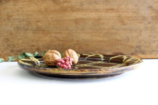 リム丸皿 大 二重格子 飴 陶器 紀窯 画像2