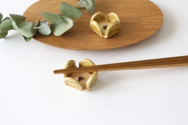 花の箸置きA 黄 陶器 harasawa ayaka