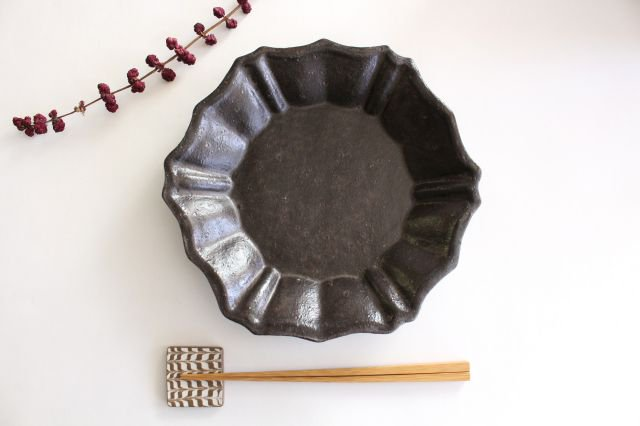 キャラメリゼブラウン 六角ロココ皿 陶器 木のね 画像4