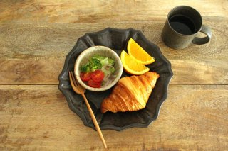 キャラメリゼブラウン 六角ロココ皿 陶器 木のね商品画像