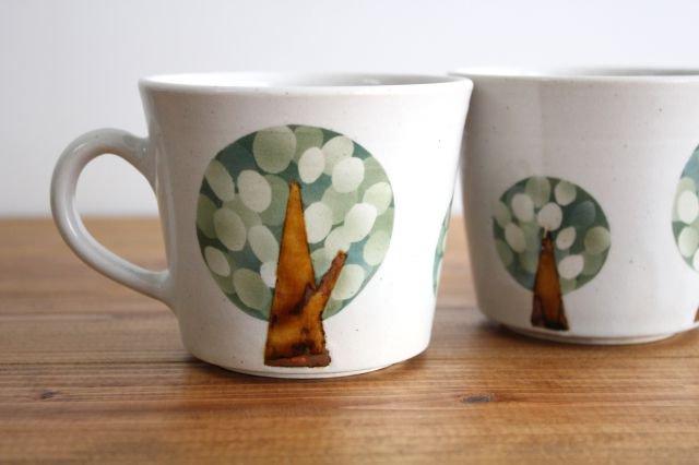 マグカップ 木 白 陶器 はるな陶芸工房 画像2