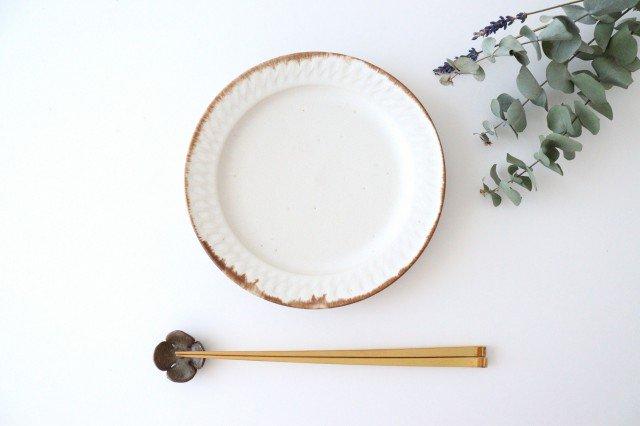 ホワイト相鎬6寸皿 陶器 中野明彦 画像2