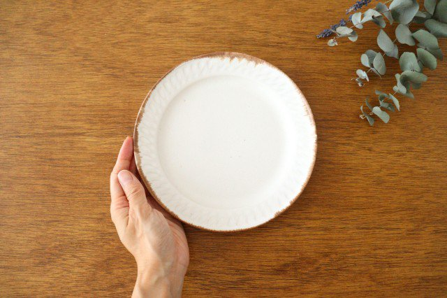 ホワイト相鎬6寸皿 陶器 中野明彦 画像4