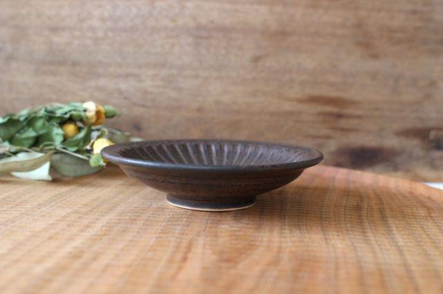 ブラウン鎬3寸皿 陶器 中野明彦 画像3