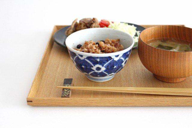 茶碗 染付花 磁器 皐月窯 砥部焼