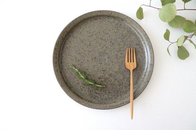 8寸皿 柿灰 陶器 青人窯