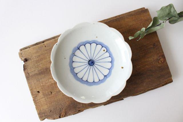 5寸花形型打ち皿 菊紋 磁器 皐月窯 砥部焼