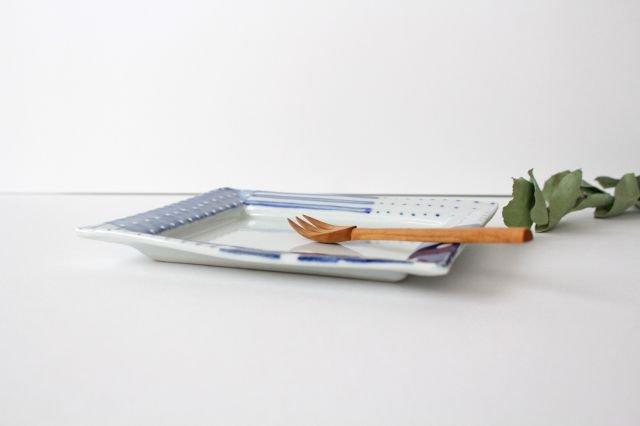 四角リム皿 中 イッチンドット 磁器 皐月窯 砥部焼 画像2