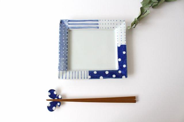 四角リム皿 中 イッチンドット 磁器 皐月窯 砥部焼 画像3