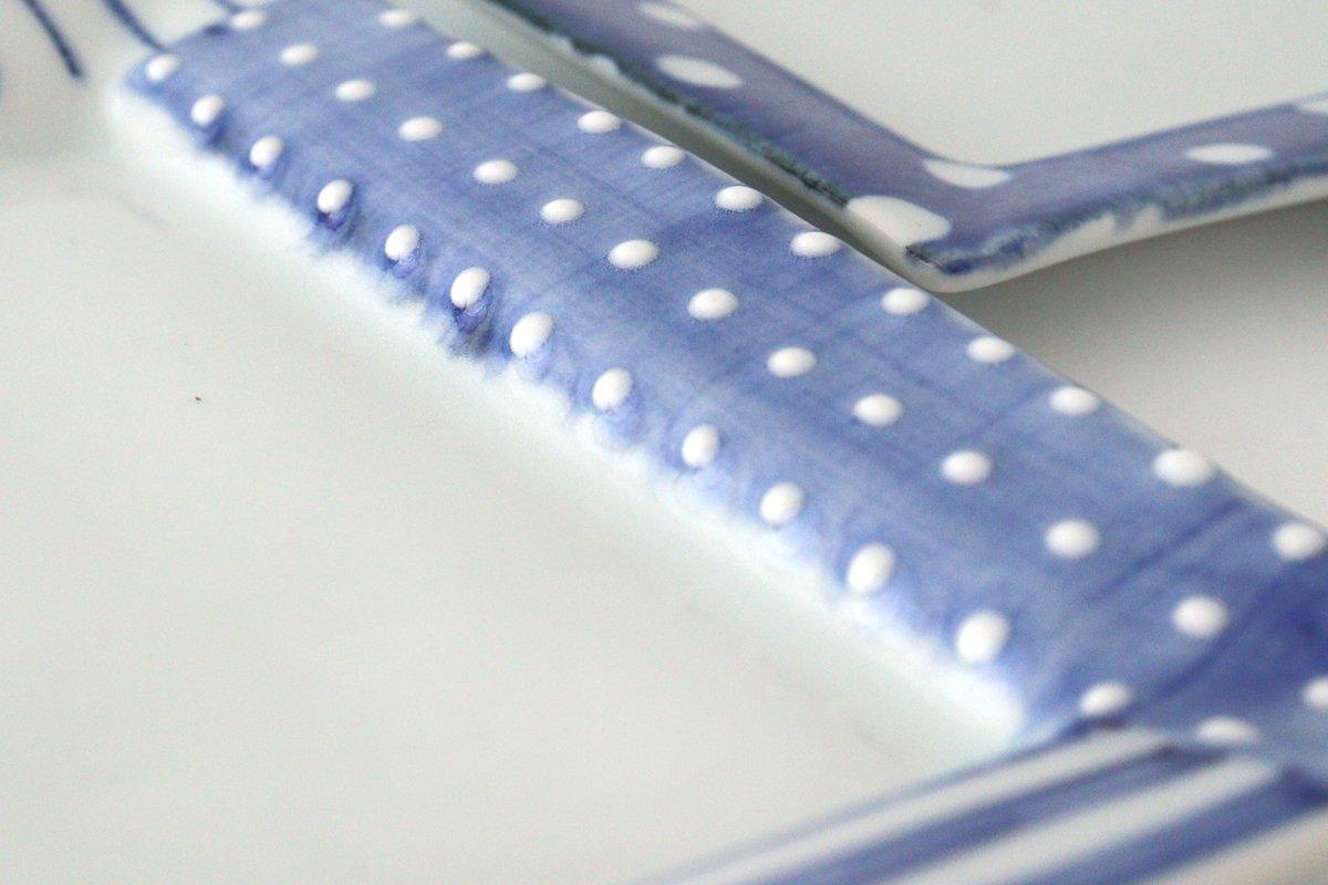 四角リム皿 中 イッチンドット 磁器 皐月窯 砥部焼 画像4