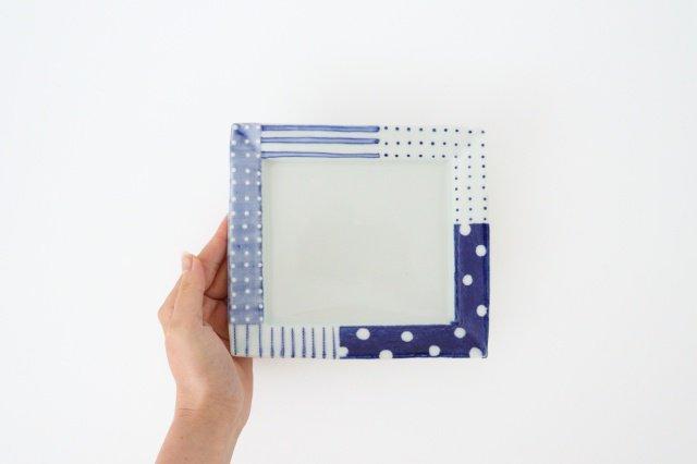 四角リム皿 中 イッチンドット 磁器 皐月窯 砥部焼 画像5
