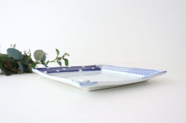 四角リム皿 大 イッチンドット 磁器 皐月窯 砥部焼 画像2