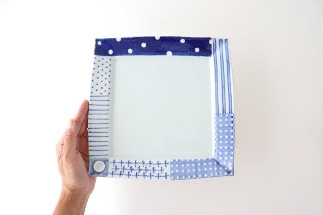 四角リム皿 大 イッチンドット 磁器 皐月窯 砥部焼 画像3