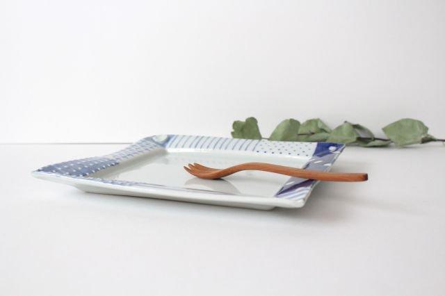 四角リム皿 大 イッチンドット 磁器 皐月窯 砥部焼 画像5
