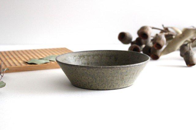 浅鉢 柿灰 陶器 青人窯