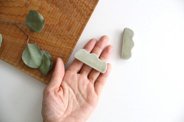 Niigataモチーフ箸置き 枝豆 魚沼緑灰 陶器 青人窯 画像2