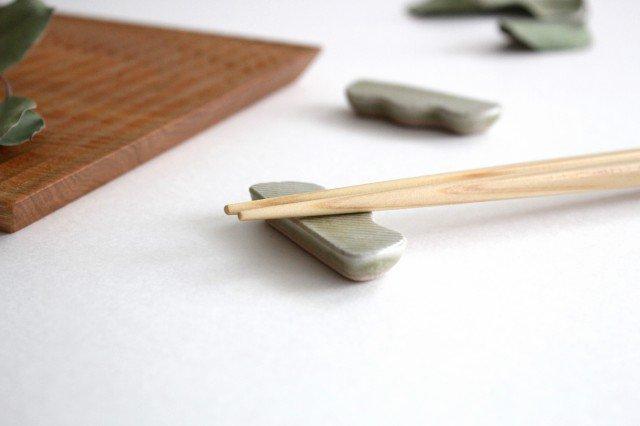 Niigataモチーフ箸置き 枝豆 魚沼緑灰 陶器 青人窯 画像3