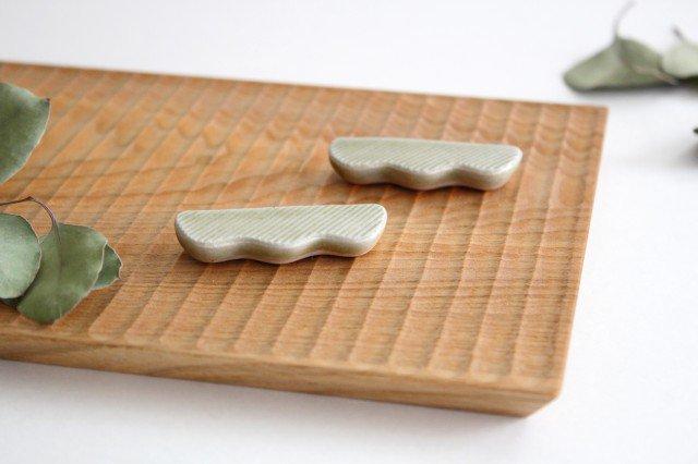 Niigataモチーフ箸置き 枝豆 魚沼緑灰 陶器 青人窯 画像6