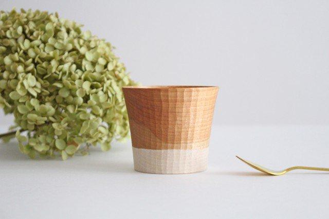 木のカップ t70 ツートン 桜 ivory+安藤由紀