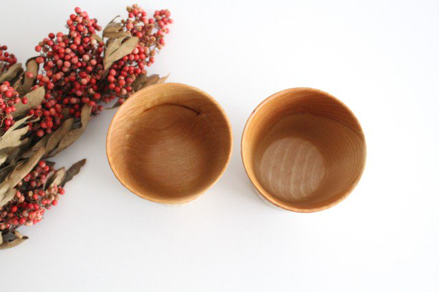 木のカップ 桜 ツートン ivory+安藤由紀 画像2
