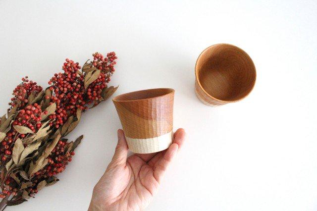 木のカップ t70 ツートン 桜 ivory+安藤由紀 画像4