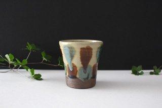 Vカップ 三彩点打 飴釉 陶器 漂窯 やちむん商品画像