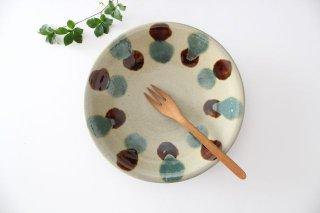 7寸皿  【蛇の目なし】 三彩点打 飴釉 陶器 漂窯 やちむん商品画像
