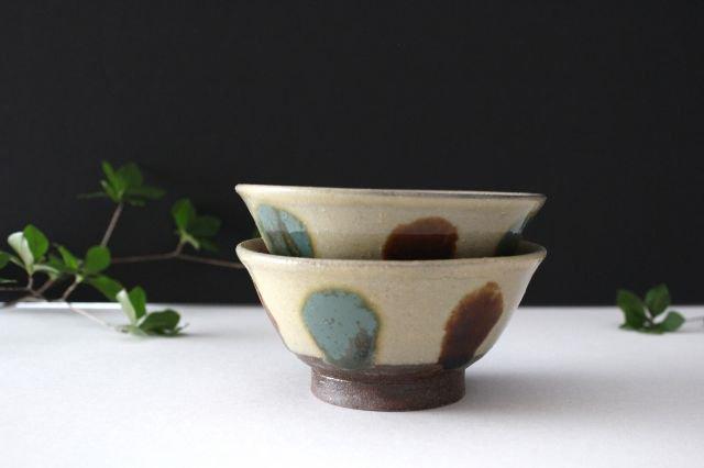 3.5寸マカイ 【蛇の目無し】 三彩点打 飴釉 陶器 漂窯 画像6
