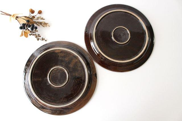 しのぎリム皿 8寸 アメ 陶器 櫻井薫 画像3