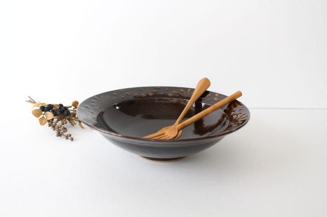 リム鉢 8寸 アメ 陶器 櫻井薫 画像2